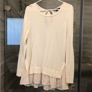 Large cream Ann Taylor ruffle sweater